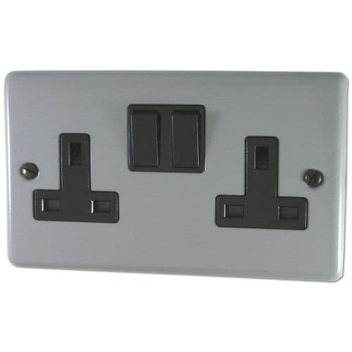 G&H CLG10B Standard Plate Light Grey 2 Gang Double 13A Switched Plug Socket